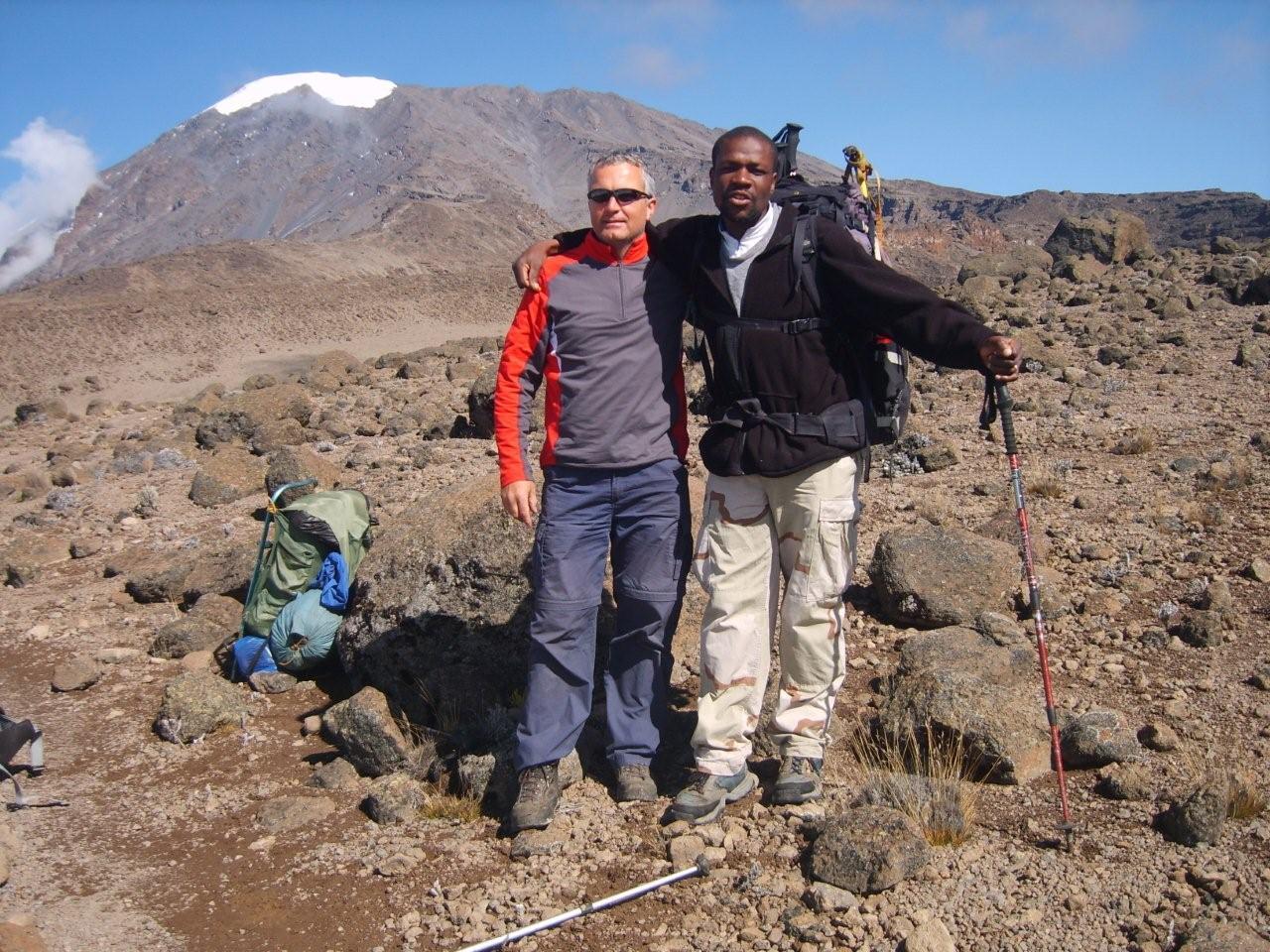 David Squire and Fred Achedo on Kilimanjaro
